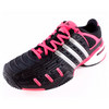 ADIDAS Women`s Adipower Barricade V Classic Tennis Shoes Black and Metallic Silver