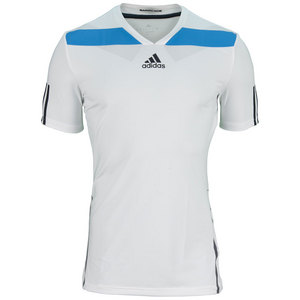 adidas MENS ADIPR BARR SEMI FITTED TEE WH/BLUE
