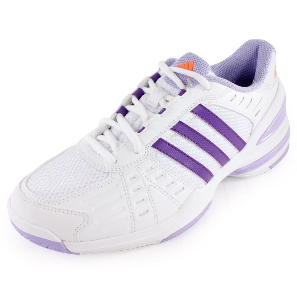 adidas Women`s Response Rally Court Tennis Shoes White and Glow Purple