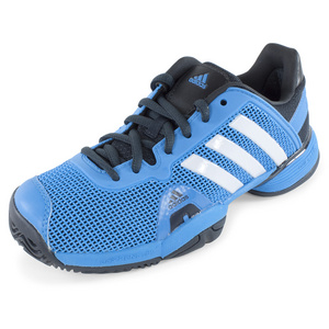 Junior`s Adipower Barricade Tennis Shoes Solar Blue and White