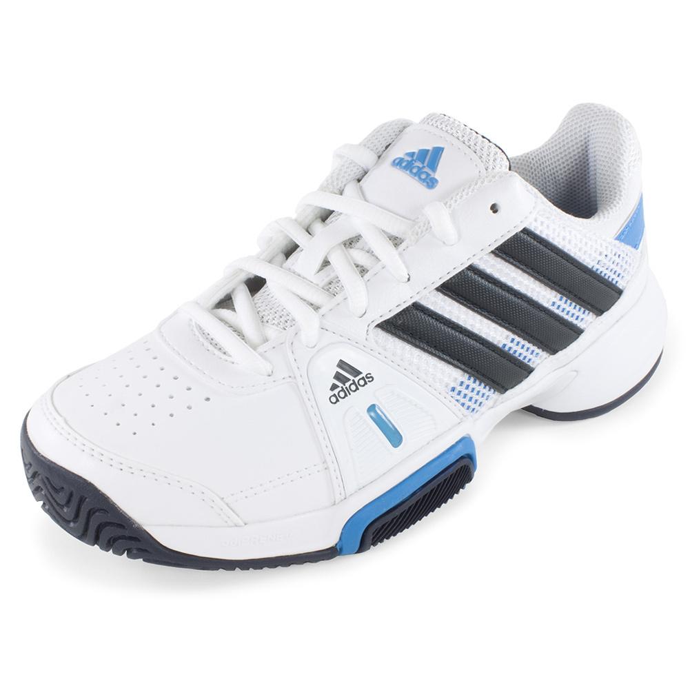 Junior`s Adipower Barricade Team 3 Tennis Shoes White and Night Shade