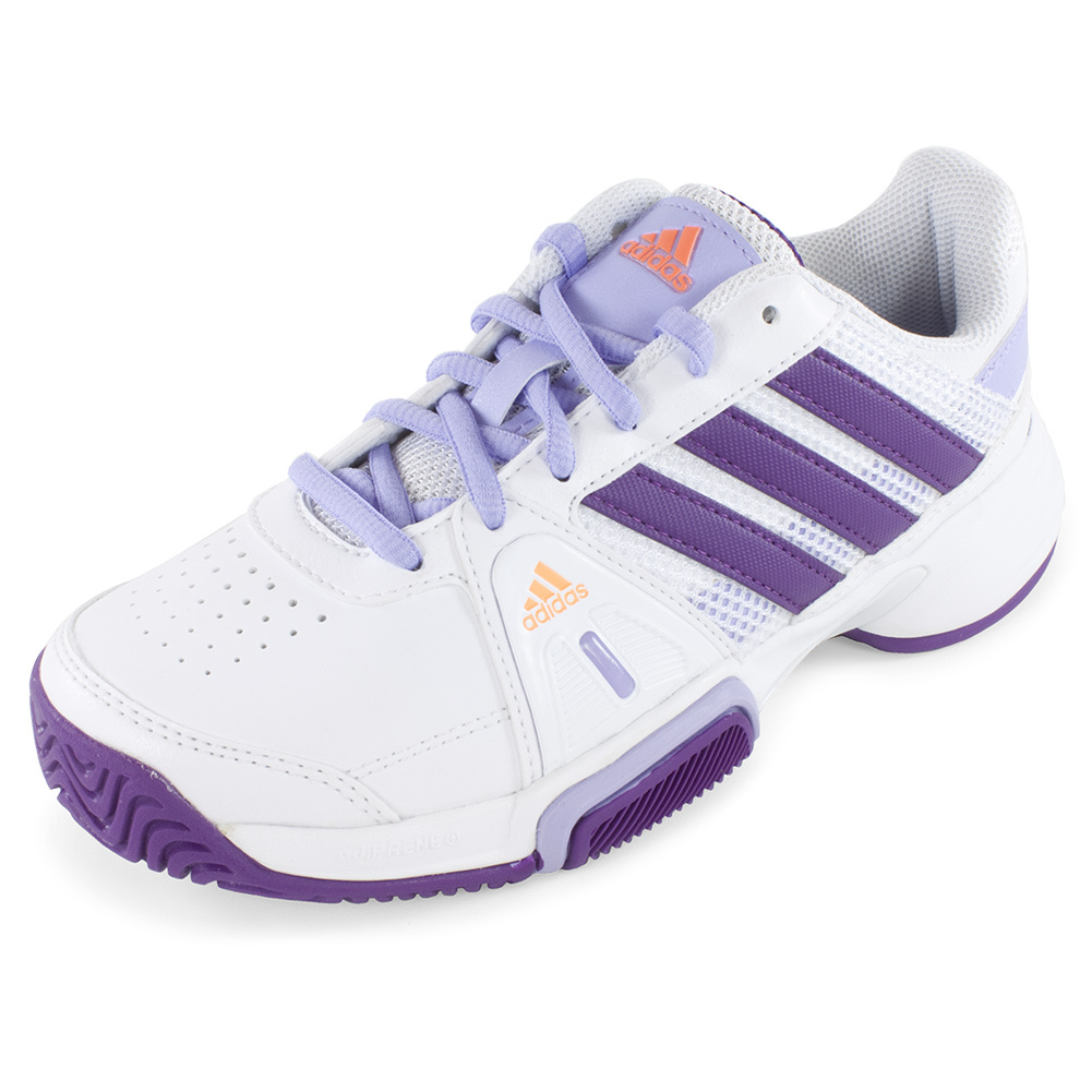 Junior`s Adipower Barricade Team 3 Tennis Shoes White and Tribe Purple