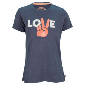 LIFE IS GOOD WOMENS LOVE TEE TRUE BLUE