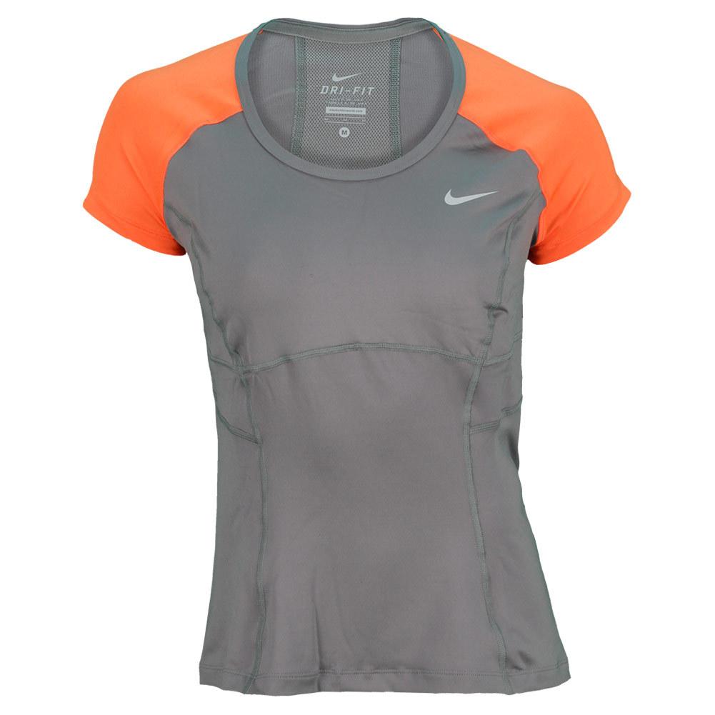 Women's Power Short Sleeve Tennis Top Medium Gray