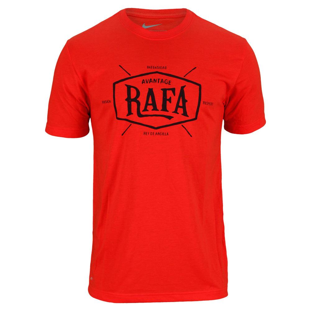 Men`s Rafa Tennis Tee The Nike Mens Rafa Tennis Tee features DriFIT performance fabric that wicks away moisture and sweat to keep you feeling cool and dry