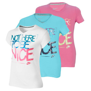 NIKE GIRLS NOT HERE TO BE NICE V NECK TEE