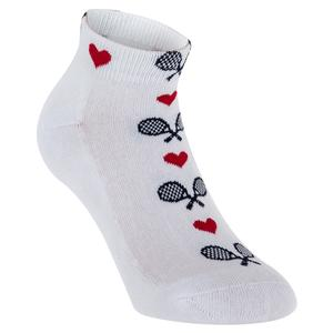 K BELL SOCKS LOVE TENNIS COTTON BLEND WHITE