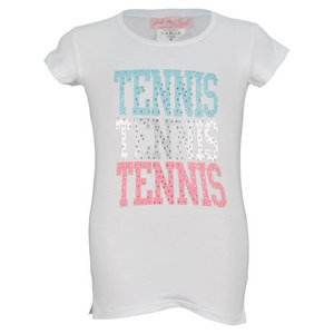 LITTLE MISS TENNIS GIRLS TENNIS TEE WHITE