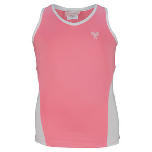 LITTLE MISS TENNIS GIRLS TENNIS TANK PINK AND WHITE