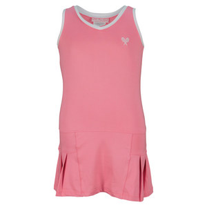 LITTLE MISS TENNIS GIRLS TENNIS DRESS PINK/WHITE TRIM