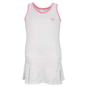 LITTLE MISS TENNIS GIRLS TENNIS DRESS WHITE/PINK TRIM