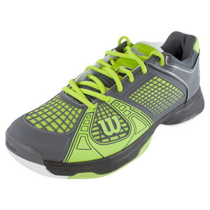 WILSON MENS RUSH NGX TENNIS SHOES GRAY/GREEN