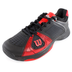 WILSON MENS RUSH NGX TENNIS SHOES BLACK/RED