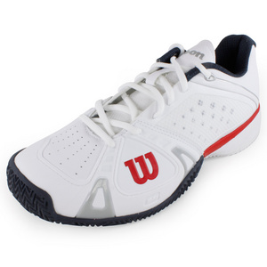 WILSON MENS RUSH PRO CC SHOES WHITE/RED