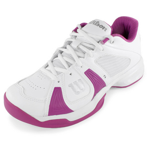 WILSON WOMENS RUSH OPEN TENNIS SHOES WH/FUCHS