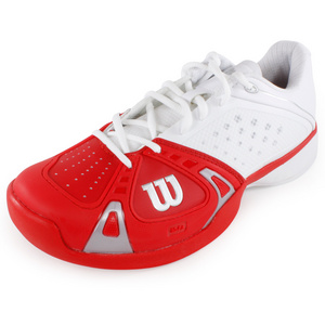 WILSON MENS RUSH PRO TENNIS SHOES WHITE/RED