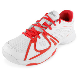 WILSON WOMENS RUSH 2 TENNIS SHOES WHITE/CORAL