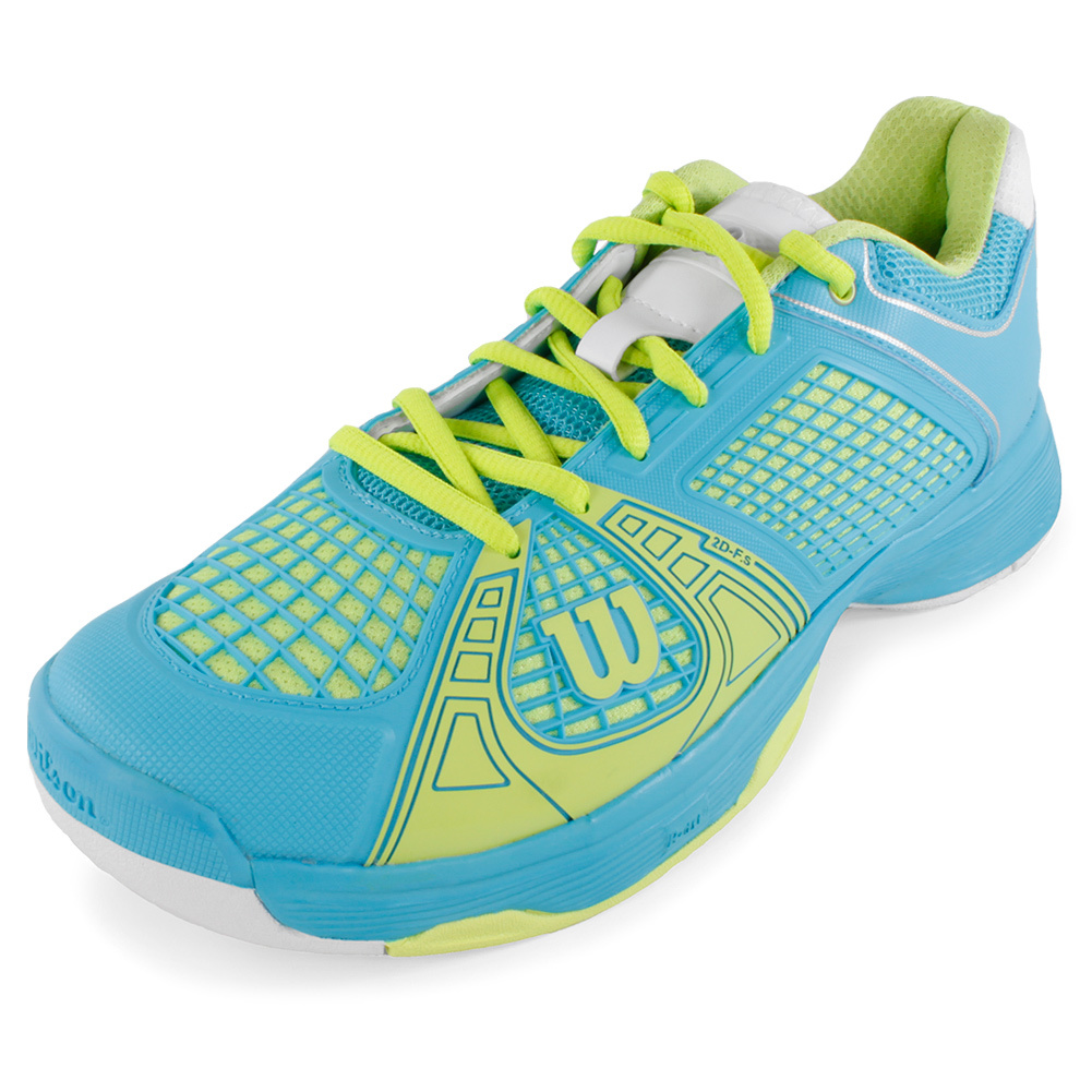 wilson s ngx tennis shoes blue and green