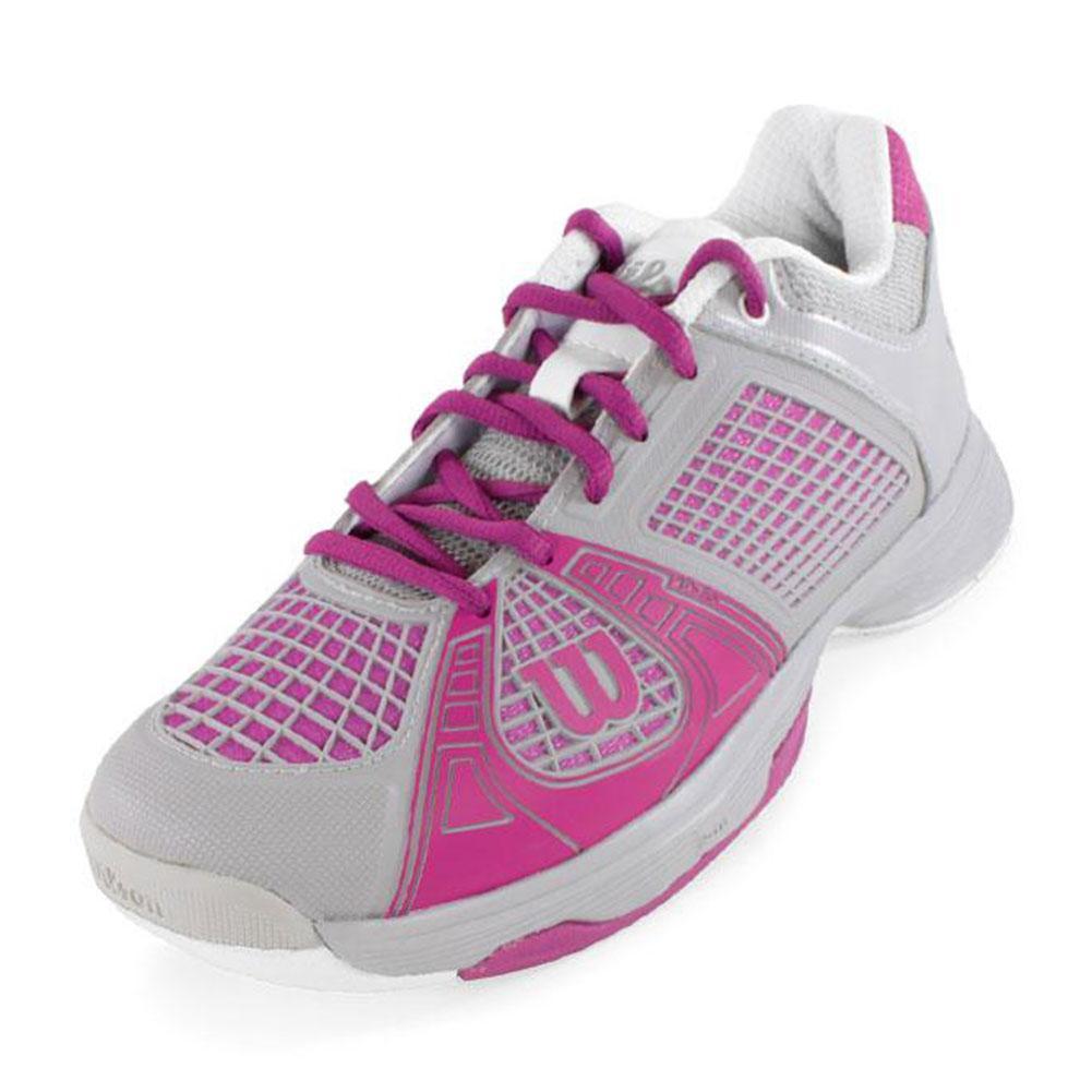 WILSON Women`s Rush NGX Tennis Shoes Gray and Fuchsia