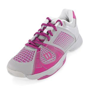 WILSON WOMENS RUSH NGX TENNIS SHOES GY/FUCHSIA