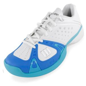 WILSON WOMENS RUSH PRO TENNIS SHOES WHITE/BLUE