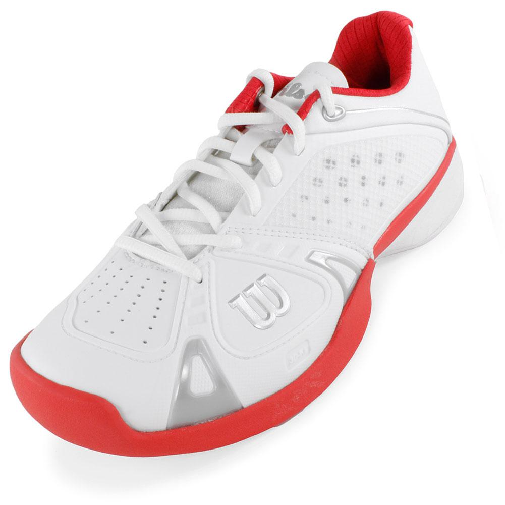 WILSON Women`s Rush Pro Tennis Shoes White and Red