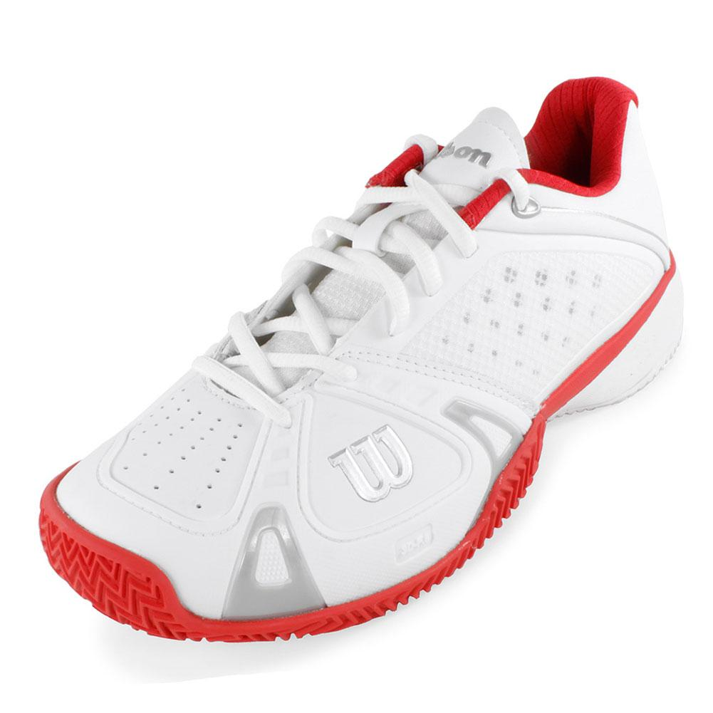 Women's Rush Pro Cc Tennis Shoes White And Red