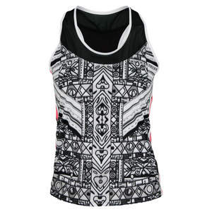 LUCKY IN LOVE WOMENS TRIBAL RACERBACK TANK PRINT
