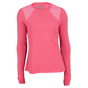 LUCKY IN LOVE WOMENS LONG SLEEVE CREW TENNIS TOP PINK