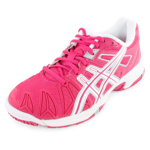 Juniors` Gel Resolution 5 Tennis Shoes Fuchsia and White