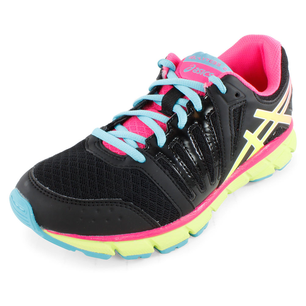 Juniors` Gel Lyte33 2 Running Shoes Black and Flash Yellow The Asics Juniors Gel Lyte33 2 Running Shoes Black and Yellow are ultra flexible and lightweight while still providing plenty of cushion A favorite among runners for its quality construction and durabilityUpperReinforced stitched toe cap enhances durabili