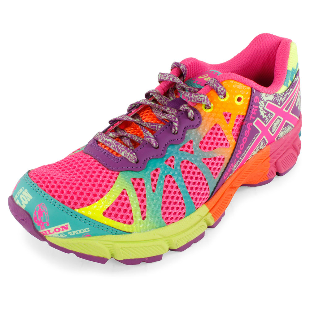 Juniors ` Gel Noosa Tri 9 Running Shoes Hot Pink And Purple