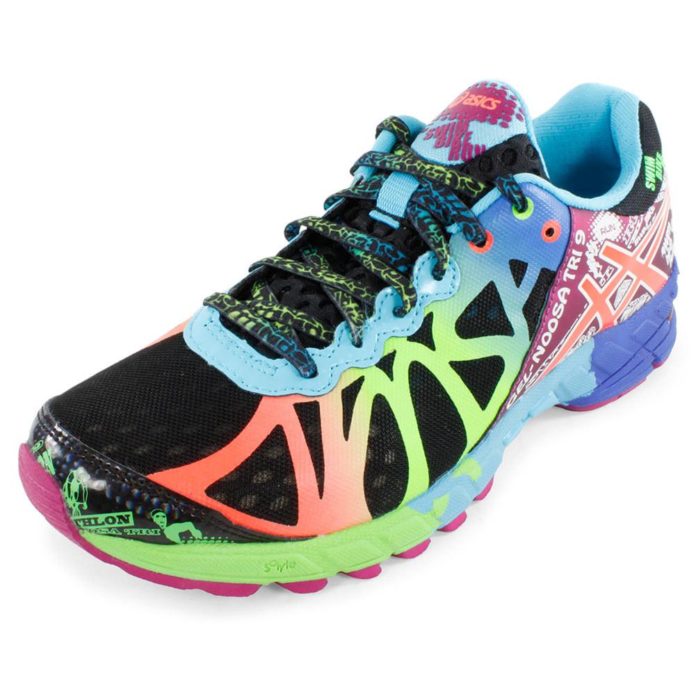 asics women s gel noosa tri 9 running shoes black and neon. Black Bedroom Furniture Sets. Home Design Ideas