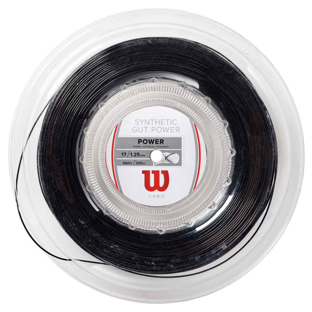 Synthetic Gut Power 17g Tennis String Reel Black