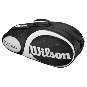 WILSON TEAM 6 PACK TENNIS BAG BLACK AND SILVER