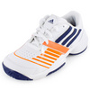 Junior`s Galaxy Elite III Tennis Shoes White and Night Blue by ADIDAS