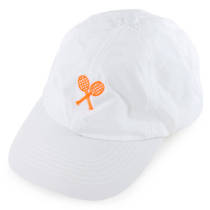 LITTLE MISS TENNIS GIRLS WHITE CAP W/ NEON CORAL RACQUETS
