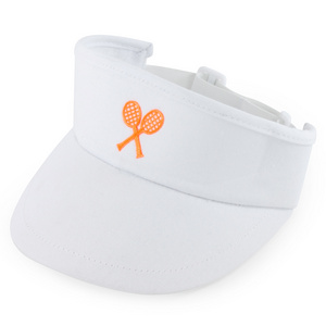 LITTLE MISS TENNIS GIRLS WHITE VISOR W/ NEON CORAL RACQUETS