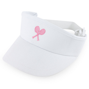 LITTLE MISS TENNIS GIRLS WHITE VISOR W/PINK CROSSED RACQUET