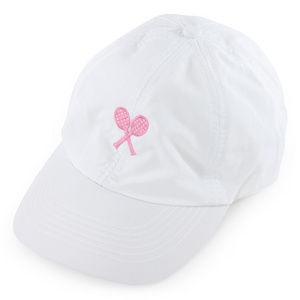 LITTLE MISS TENNIS GIRLS WHITE CAP W/PINK CROSSED RACQUETS