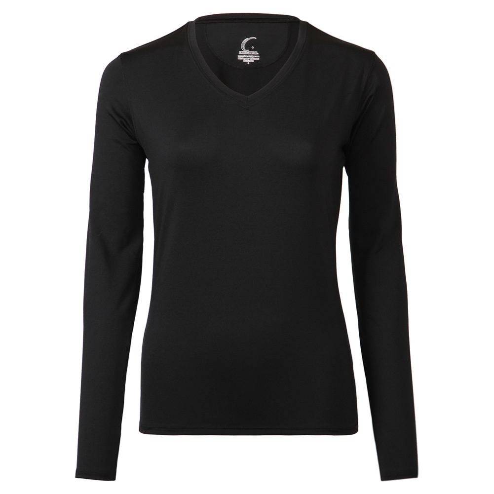 Women's Long Sleeve Tennis Tee Black
