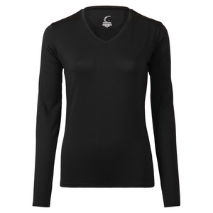 Women`s Long Sleeve Tennis Tee Black