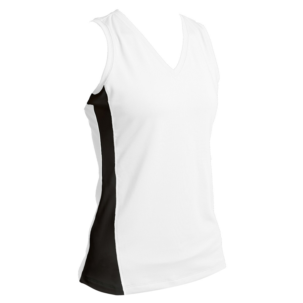 Women's White With Black Sleeveless Tennis V Neck
