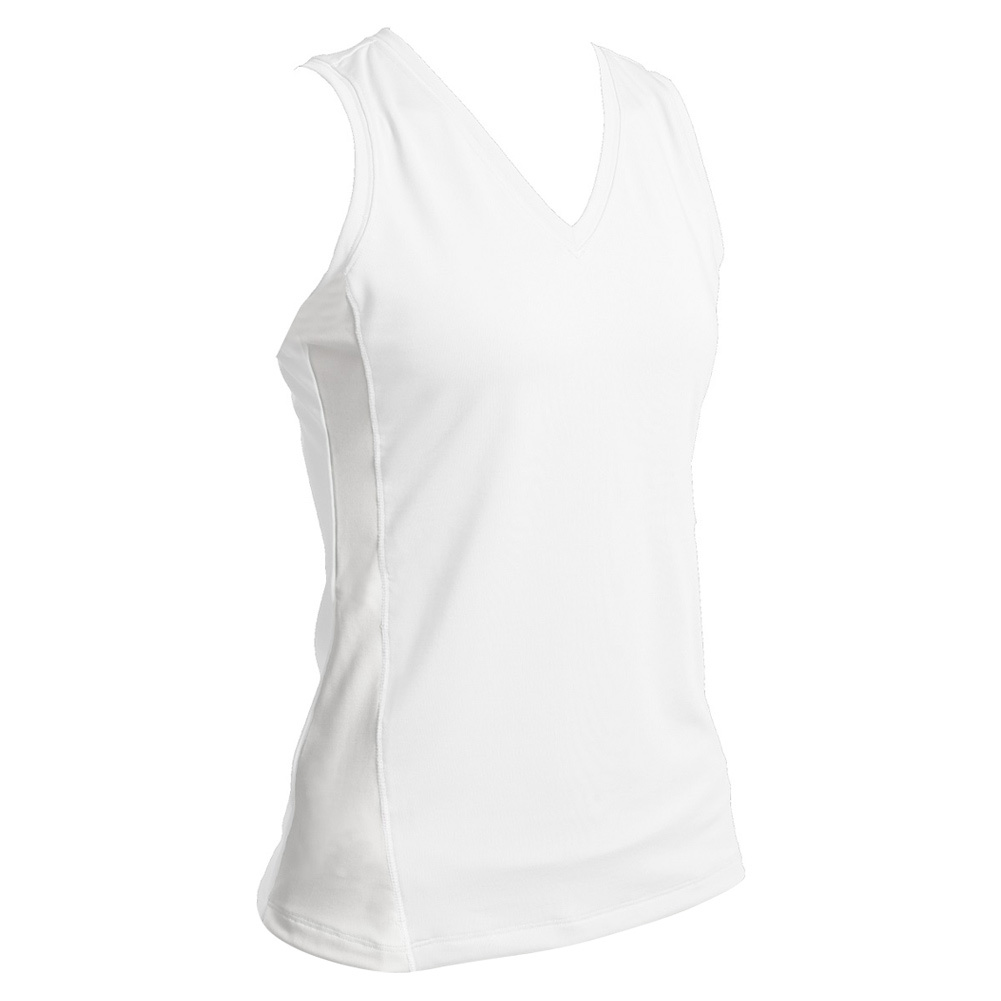 Women's White Sleeveless Tennis V Neck