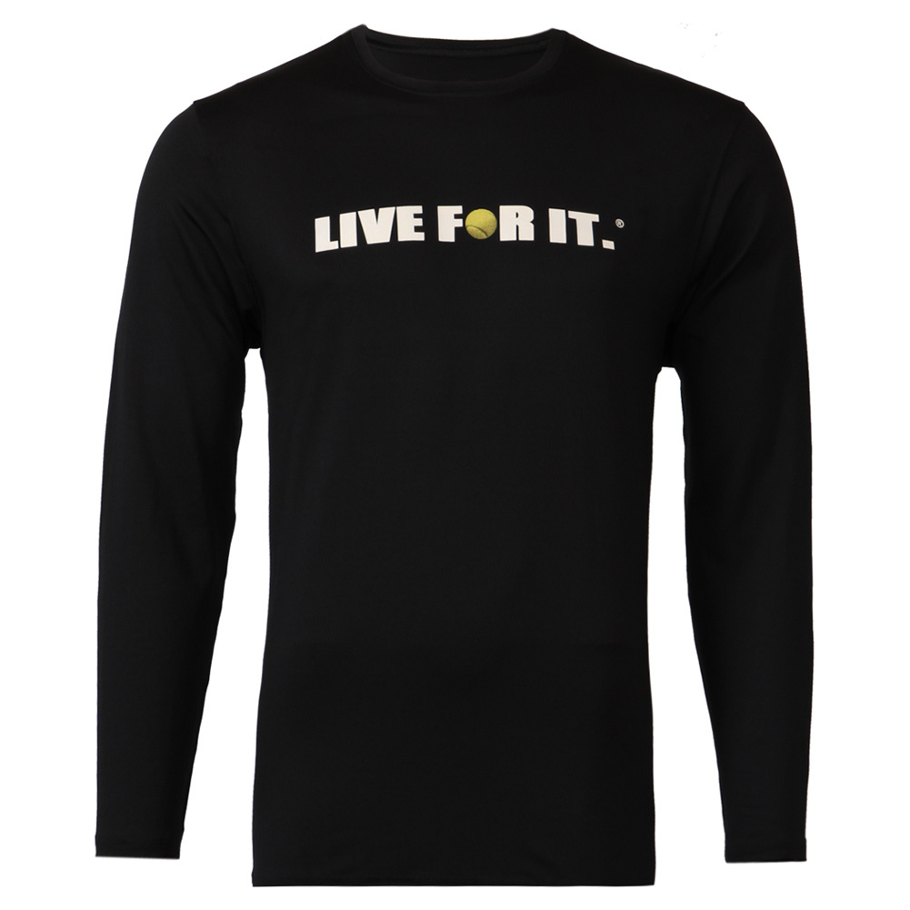 Men's Long Sleeve Tennis Tee Black