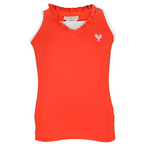 LITTLE MISS TENNIS GIRLS TENNIS TANK NEON CORAL