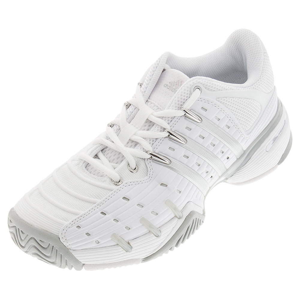 Women's Adipower Barricade V Classic Tennis Shoes White And Metallic Silver