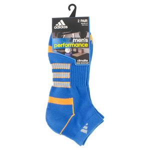 adidas MENS CLIMALITE II LOW CUT 2PK SOCKS BLUE