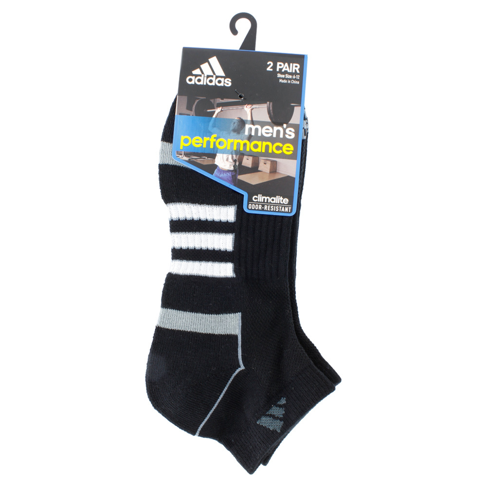 Men`s Climalite II Low Cut 2 Pack Tennis Socks Black shoe sizes 6-12