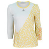 ADIDAS Women`s Stella McCartney Barricade Long Sleeve Tennis Top White and Wonder Glow